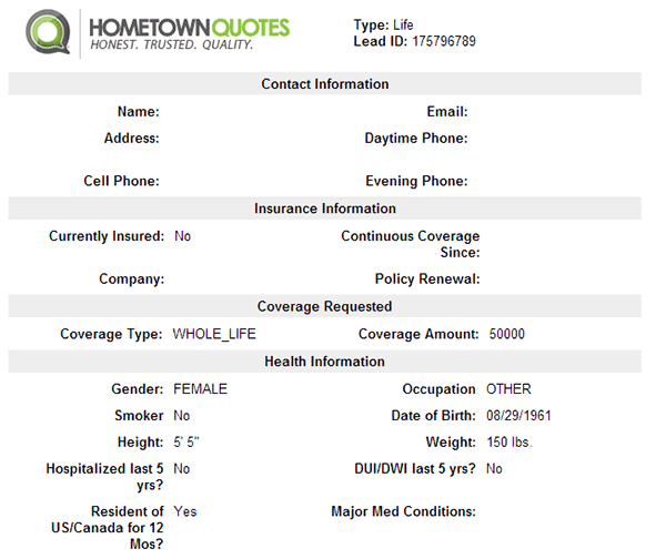Hometown Quotes Sample Life Insurance Lead