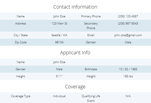 QuoteWizard Sample Health Insurance Lead