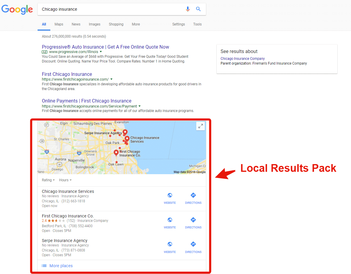 Chicago Insurance Search Result