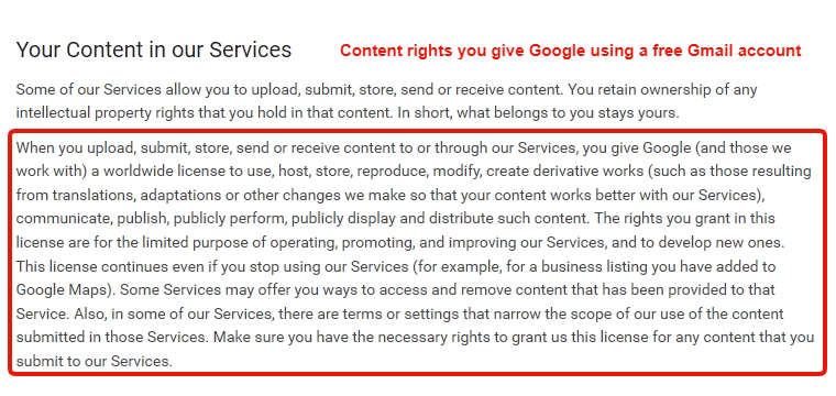 Gmail Terms and Privacy